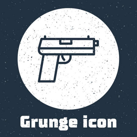 Grunge line Pistol or gun icon isolated on grey background. Police or military handgun. Small firearm. Monochrome vintage drawing. Vector