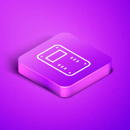 Isometric line Police assault shield icon isolated on purple background. Purple square button. Vector