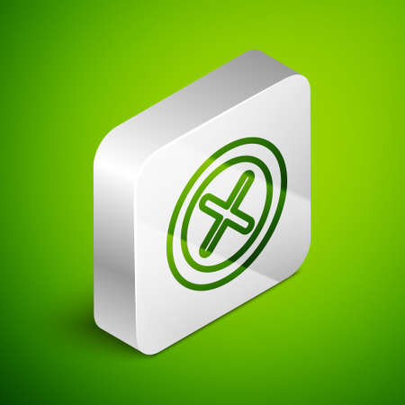 Isometric line X Mark, Cross in circle icon isolated on green background. Check cross mark icon. Silver square button. Vector