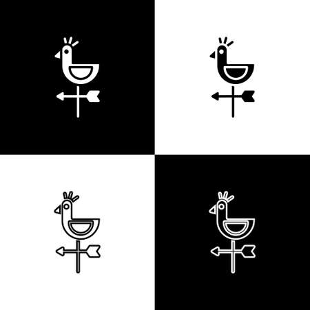 Set Rooster weather vane icon isolated on black and white background. Weathercock sign. Windvane rooster. Vector Illustration