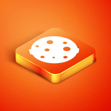 Isometric Moon icon isolated on orange background. Vector Illustration