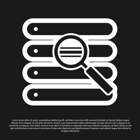 Black Search in a browser window icon isolated on black background. Vector Illustration