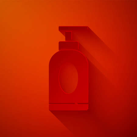 Paper cut Cream or lotion cosmetic tube icon isolated on red background. Body care products for men. Paper art style. Vector Illustration