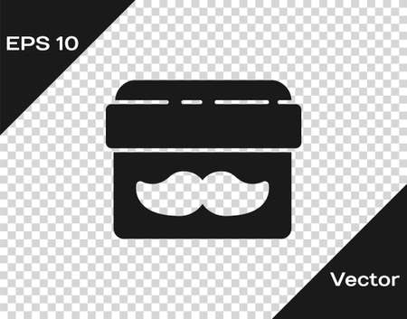 Black Cream or lotion cosmetic jar icon isolated on transparent background. Body care products for men. Vector Illustration
