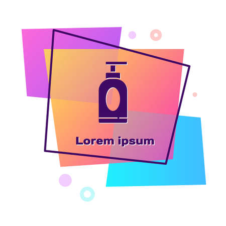Purple Cream or lotion cosmetic tube icon isolated on white background. Body care products for men. Color rectangle button. Vector Illustration Ilustrace