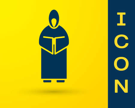 Blue Monk icon isolated on yellow background. Vector Illustration