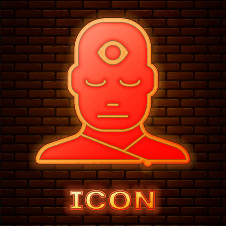 Glowing neon Man with third eye icon isolated on brick wall background. The concept of meditation, vision of energy, aura. Vector Illustration