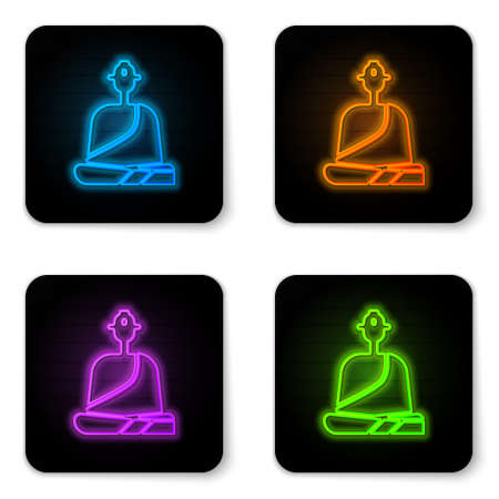 Glowing neon Buddhist monk in robes sitting in meditation icon isolated on white background. Black square button. Vector Illustration