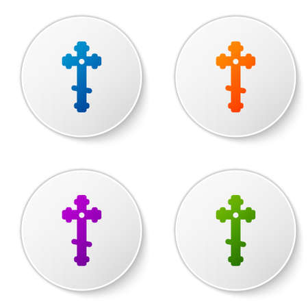 Color Christian cross icon isolated on white background. Church cross. Set icons in circle buttons. Vector Illustration