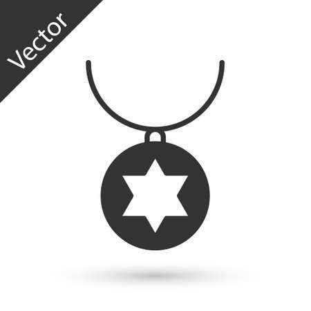 Grey Star of David necklace on chain icon isolated on white background. Jewish religion. Symbol of Israel. Jewellery and accessory. Vector Illustration