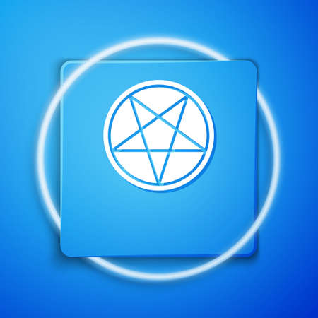 White Pentagram in a circle icon isolated on blue background. Magic occult star symbol. Blue square button. Vector Illustration 向量圖像