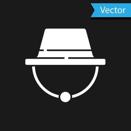 White Camping hat icon isolated on black background. Beach hat panama. Explorer travelers hat for hunting, hiking, tourism. Vector Illustration