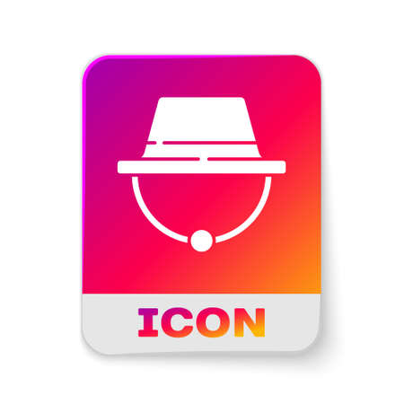 White Camping hat icon isolated on white background. Beach hat panama. Explorer travelers hat for hunting, hiking, tourism. Rectangle color button. Vector Illustration Illusztráció