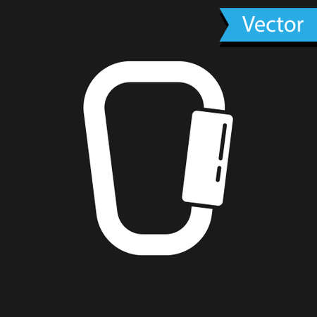 White Carabiner icon isolated on black background. Extreme sport. Sport equipment. Vector Illustration