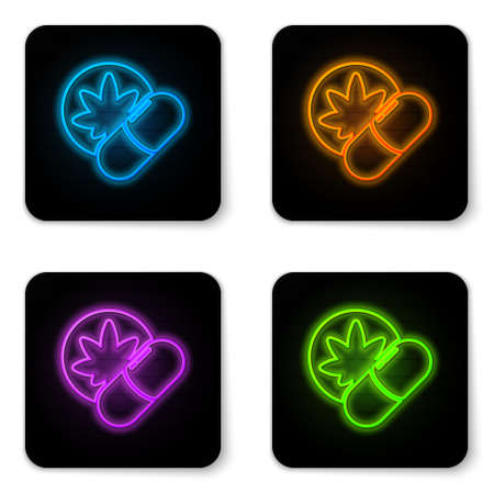 Glowing neon Herbal ecstasy tablets icon isolated on white background. Black square button. Vector Illustration 矢量图像