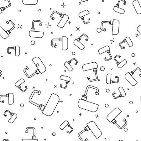 Black line Washbasin with water tap icon isolated seamless pattern on white background. Vector Illustration