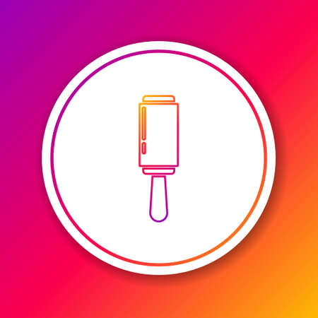 Color line Adhesive roller for cleaning clothes icon isolated on color background. Getting rid of debris, dust, hair, fluff, pet wool. Circle white button. Vector Illustration 矢量图像