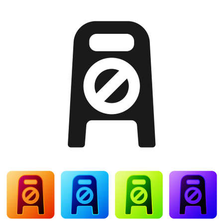 Black Wet floor and cleaning in progress icon isolated on white background. Cleaning service concept. Set icons in color square buttons. Vector Illustration Çizim