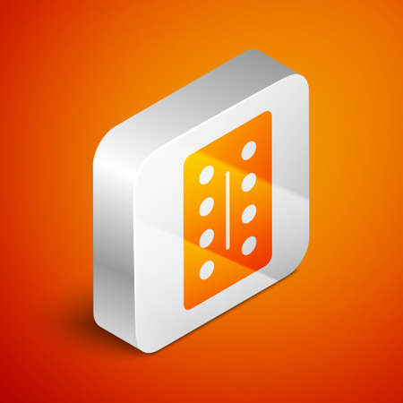 Isometric Pills in blister pack icon isolated on orange background. Medical drug package for tablet, vitamin, antibiotic, aspirin. Silver square button. Vector Illustration