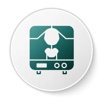 Green X-ray machine icon isolated on white background. White circle button. Vector Illustration