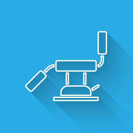 White line Medical dental chair icon isolated with long shadow. Dentist chair. Vector Illustration