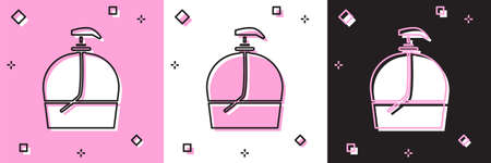 Set Bottle of liquid antibacterial soap with dispenser icon isolated on pink and white, black background. Disinfection, hygiene, skin care. Vector Illustration