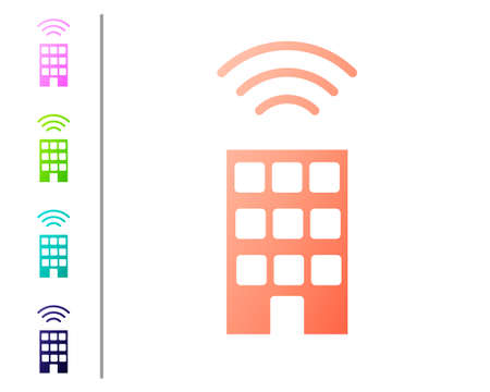 Coral Smart home with wireless icon isolated on white background. Remote control. Internet of things concept with wireless connection. Set color icons. Vector  イラスト・ベクター素材
