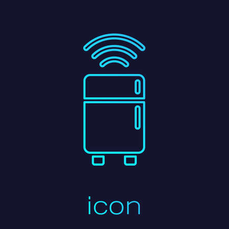 Turquoise line Smart refrigerator icon isolated on blue background. Fridge freezer refrigerator. Internet of things concept with wireless connection. Vector