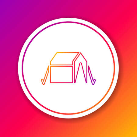 Color line Tourist tent icon isolated on color background. Camping symbol. Circle white button. Vector