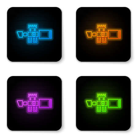 Glowing neon Sniper optical sight icon isolated on white background. Sniper scope crosshairs. Black square button. Vector