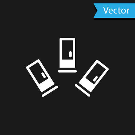 White Cartridges icon isolated on black background. Shotgun hunting firearms cartridge. Hunt rifle bullet icon. Vector  イラスト・ベクター素材