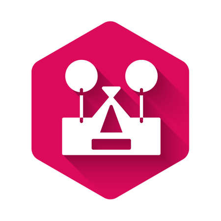 White Tourist tent icon isolated with long shadow. Camping symbol. Pink hexagon button. Vector 矢量图像