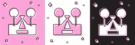 Set Tourist tent icon isolated on pink and white, black background. Camping symbol. Vector
