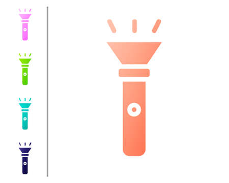 Coral Flashlight icon isolated on white background. Set color icons. Vector 矢量图像