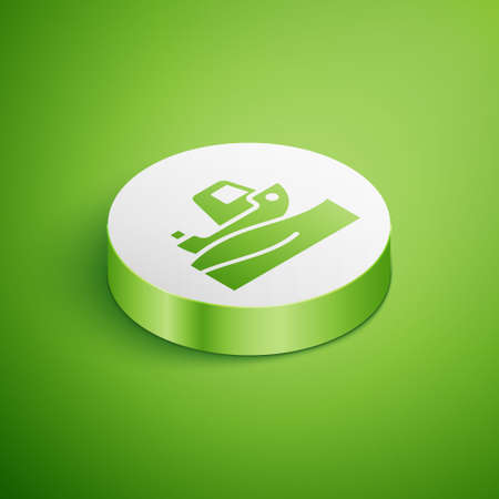 Isometric Fishing boat on water icon isolated on green background. White circle button. Vector