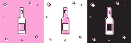 Set Glass bottle of vodka icon isolated on pink and white, black background. Vector
