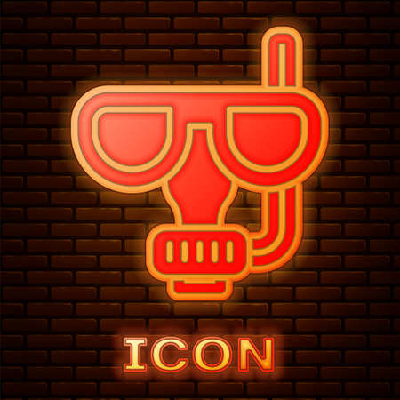 Glowing neon Diving mask and snorkel icon isolated on brick wall background. Extreme sport. Diving underwater equipment. Vector Stock Illustratie