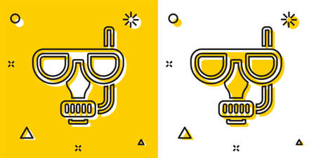 Black Diving mask and snorkel icon isolated on yellow and white background. Extreme sport. Diving underwater equipment. Random dynamic shapes. Vector
