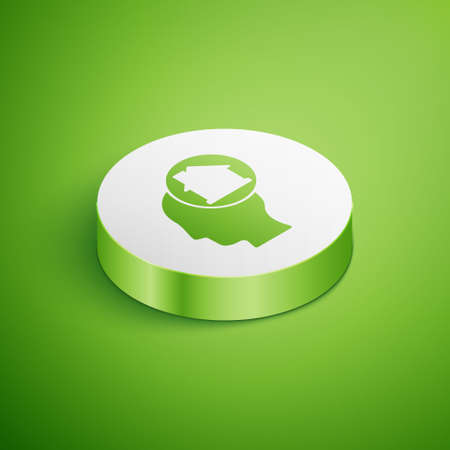 Isometric Man dreaming about buying a new house icon isolated on green background. White circle button. Vector