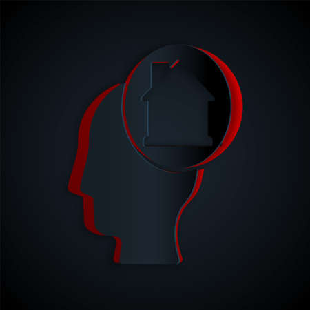 Paper cut Man dreaming about buying a new house icon isolated on black background. Paper art style. Vector 向量圖像