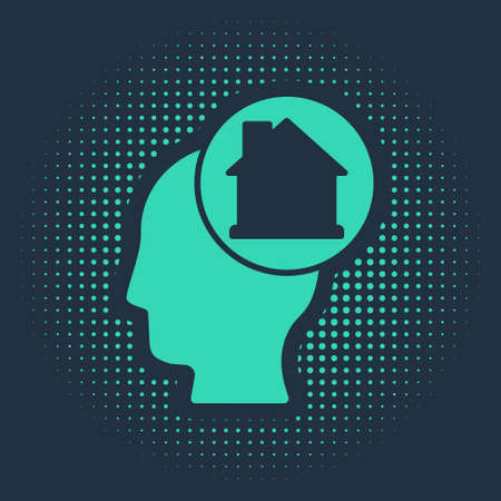 Green Man dreaming about buying a new house icon isolated on blue background. Abstract circle random dots. Vector 向量圖像