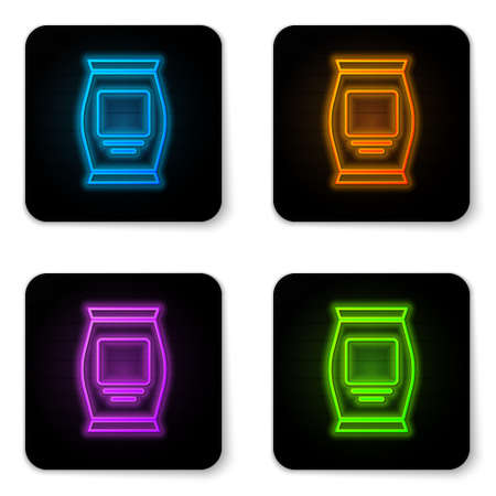 Glowing neon Fertilizer bag icon isolated on white background. Black square button. Vector Illustration