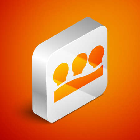 Isometric Vacuum cans icon isolated on orange background. Massage jars for face and body. Medical anticellulite cups. Silver square button. Vector Vectores