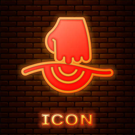 Glowing neon Massage icon isolated on brick wall background. Relaxing, leisure. Vector