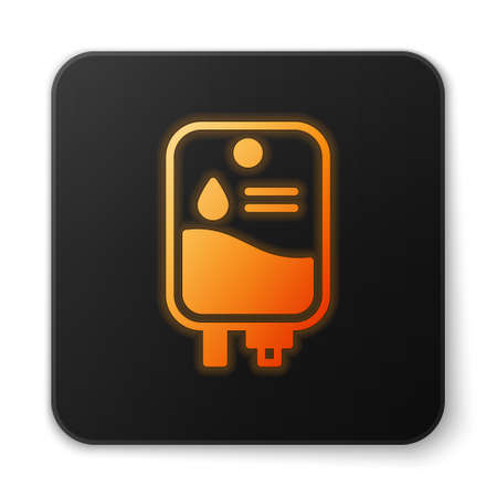 Orange glowing neon IV bag icon isolated on white background. Blood bag. Donate blood concept. The concept of treatment and therapy, chemotherapy. Black square button. Vector