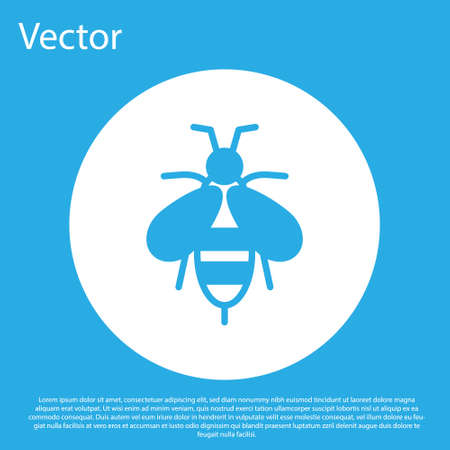 Blue Bee icon isolated on blue background. Sweet natural food. Honeybee or apis with wings symbol. Flying insect. White circle button. Vector