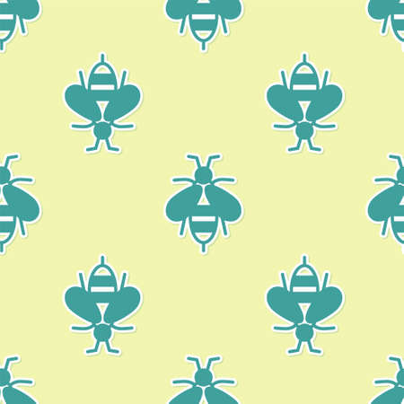 Green Bee icon isolated seamless pattern on yellow background. Sweet natural food. Honeybee or apis with wings symbol. Flying insect. Vector 向量圖像