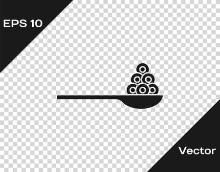 Black Caviar on a spoon icon isolated on transparent background. Vector.