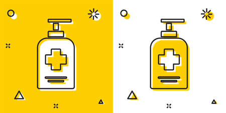 Black Bottle of liquid antibacterial soap with dispenser icon isolated on yellow and white background. Antiseptic. Disinfection, hygiene, skin care. Random dynamic shapes. Vector.