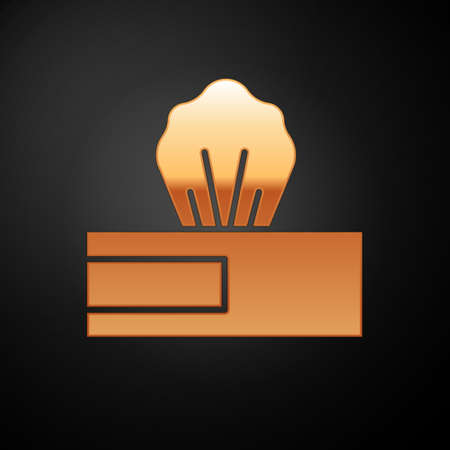 Gold Wet wipe pack icon isolated on black background. Vector.